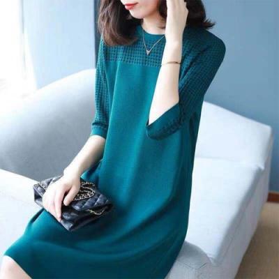 初色  時尚針織連身裙-墨綠色-(M-2XL可選)