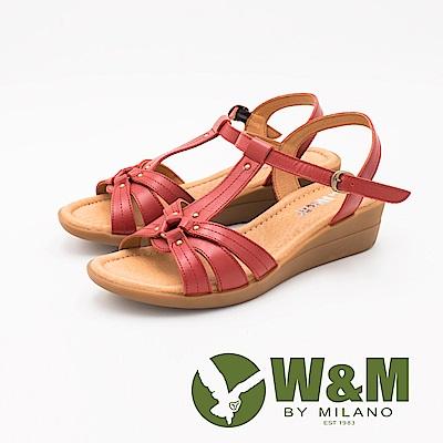 W&M 優雅繞帶楔型涼鞋 女鞋-紅(另有藍)