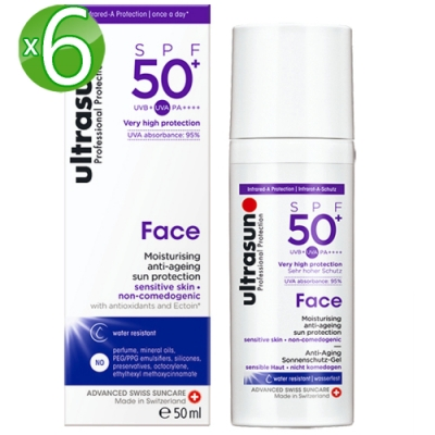 Ultrasun優佳 護顏修護防曬乳SPF50+*6入組PA++++(50ml/罐)