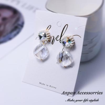 【Anpan 愛扮】 韓東大門波西米亞彩色透明水晶925銀針耳釘式耳環-透明水晶