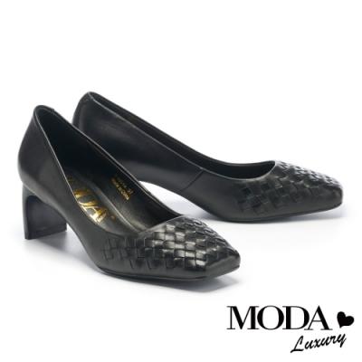 高跟鞋 MODA Luxury 氣質編織羊皮方頭高跟鞋-黑