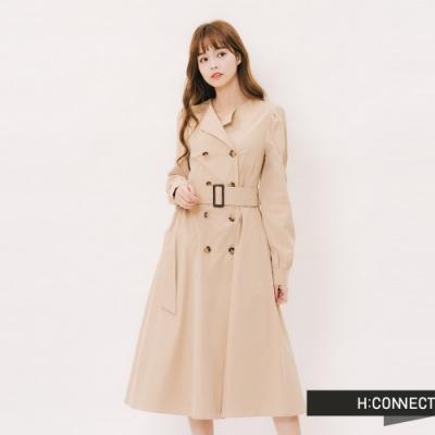 H:CONNECT 韓國品牌 女裝 - 氣質排釦長洋裝 -卡其