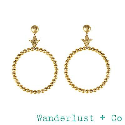 Wanderlust+Co 澳洲品牌 金色蜜蜂耳環 垂墜式經典大圓耳環 BEE HOOP