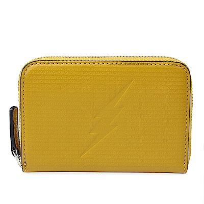 agnes b. VOYAGE 閃電烙印皮革拉鍊卡夾鑰匙零錢包(土黃色)
