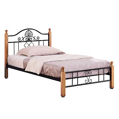 文創集 米魯時尚3.5尺單人實木鐵製床台組合(不含床墊)-105x201x98cm