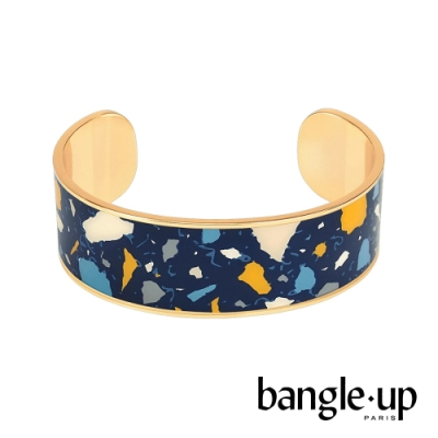 BANGLE UP 馬賽克宇宙琺瑯鍍金開口手環 -深藍