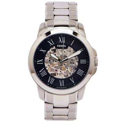 FOSSIL 鏤空設計款圓弧鏡面的機械手錶(ME3103)-黑面/44mm