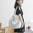 iSPurple 塗鴉笑臉 日系帆布大容量圓型單肩包 白