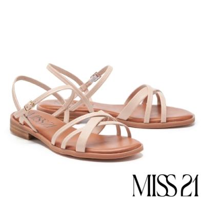 涼鞋 MISS 21 隨性法式條帶牛皮低跟涼鞋-粉