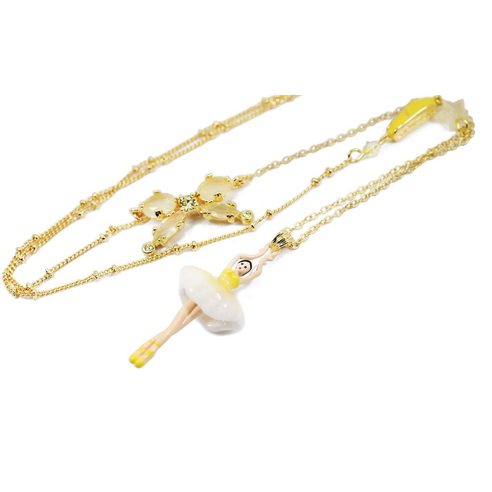 Les Nereides 優雅芭蕾舞女孩系列 黃色澎澎裙女孩蝴蝶結金色項鍊