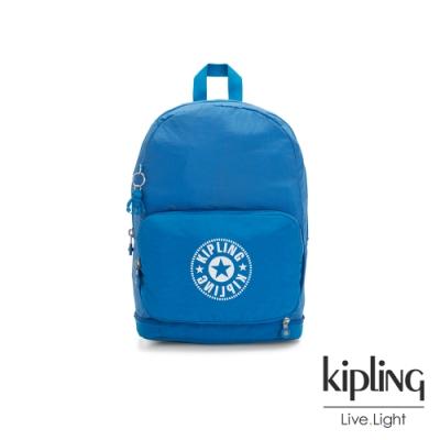 Kipling 復古藍搶眼大LOGO二合一後背側背包-CLASSIC NIMAN FOLD