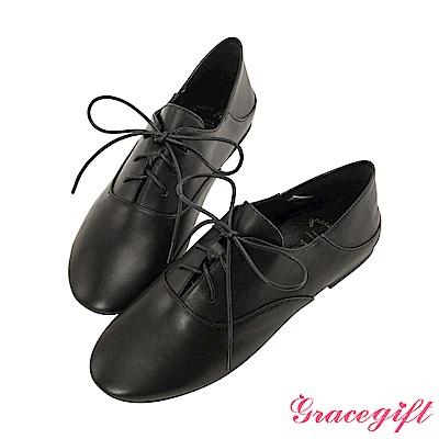 Grace gift-全真皮2way簡約綁帶便鞋 黑