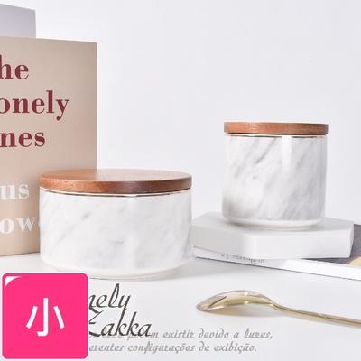 Homely Zakka 北歐ins風輕奢大理石紋金邊帶蓋陶瓷密封罐/儲物罐/收納罐_小圓罐450ml