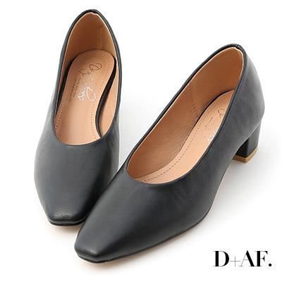 D+AF 早秋序曲.素面微尖頭中跟鞋*黑