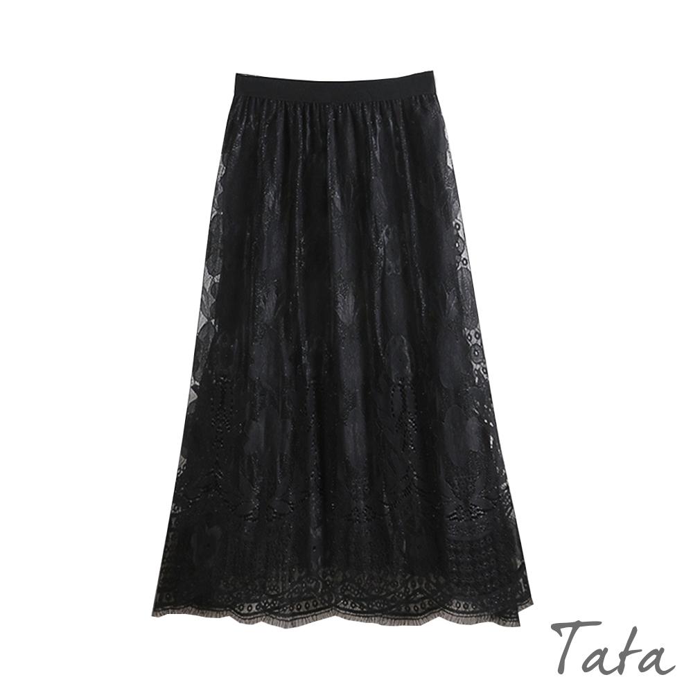 花朵蕾絲百褶雪紡裙 共二色 TATA-F
