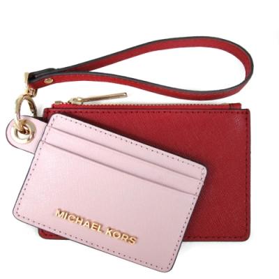 MICHAEL KORS Giftables 金字Logo防刮皮革雙色可拆卸雙層手拿包禮盒(櫻花粉雙色)