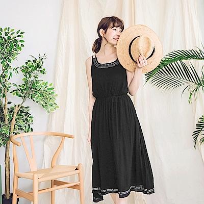 民族風刺繡雙肩帶縮腰長洋裝-OB大尺碼