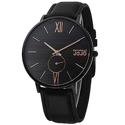 NATURALLY JOJO 轉動愛情皮革腕錶-黑色/42mm