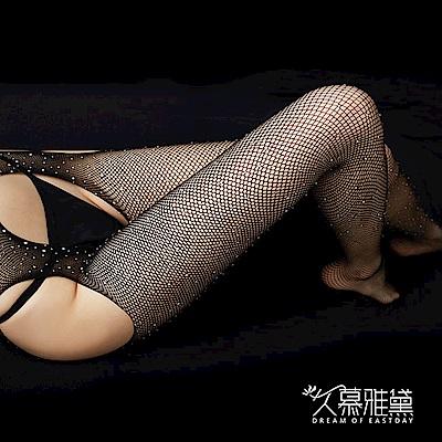網襪款 晶耀星鑽 ‧ 鑽石閃閃四面開檔網襪。大網格。黑色  久慕雅黛