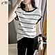 初色  冰絲條紋針織衫-白色-(F可選) product thumbnail 1