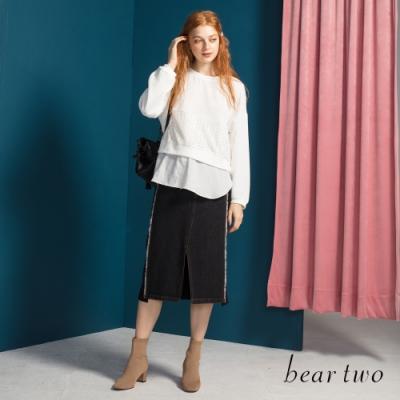 bear two-側邊抽鬚裝飾牛仔膝下裙-黑