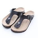 ZUCCA-經典釦飾夾腳休閒拖鞋-黑-z6623bk
