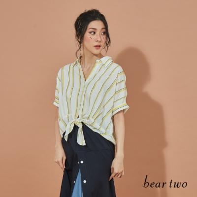 beartwo-簡約條紋造型上衣-白