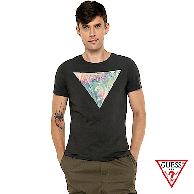 GUESS-男裝-渲染經典倒三角LOGO短T,T恤-黑 原價1290
