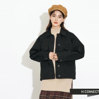 H:CONNECT 韓國品牌 女裝-雙口袋特色夾克外套-黑