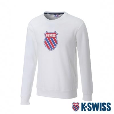 K-SWISS Shield Logo Sweatshirt刷毛圓領上衣-男-白