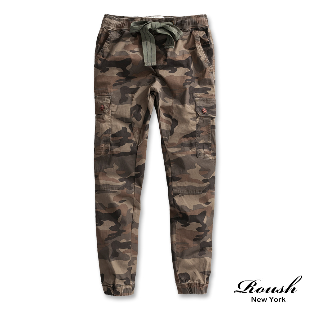ROUSH 美式重磅側口袋水洗迷彩束口褲 (2色)