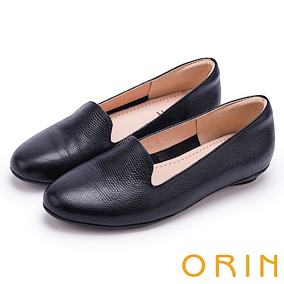 ORIN 率直簡約 牛皮壓紋素面百搭平底鞋-黑色