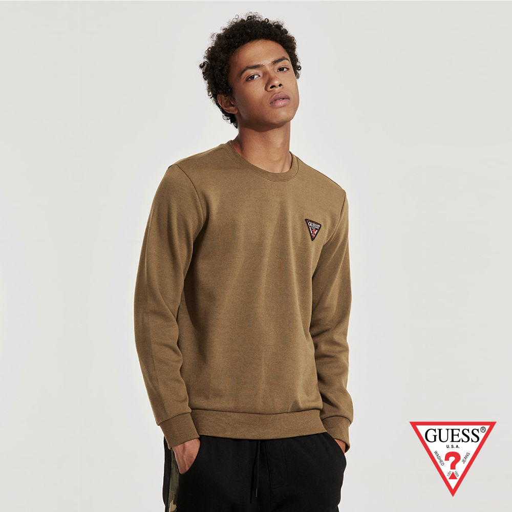 GUESS-男裝-基本素色LOGO長袖上衣-棕 原價2990