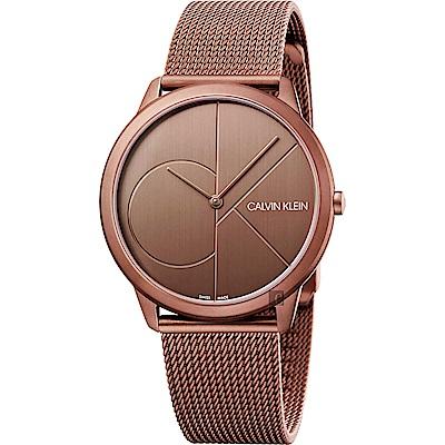 Calvin Klein CK Minimal 經典大LOGO手錶-古銅色/40mm
