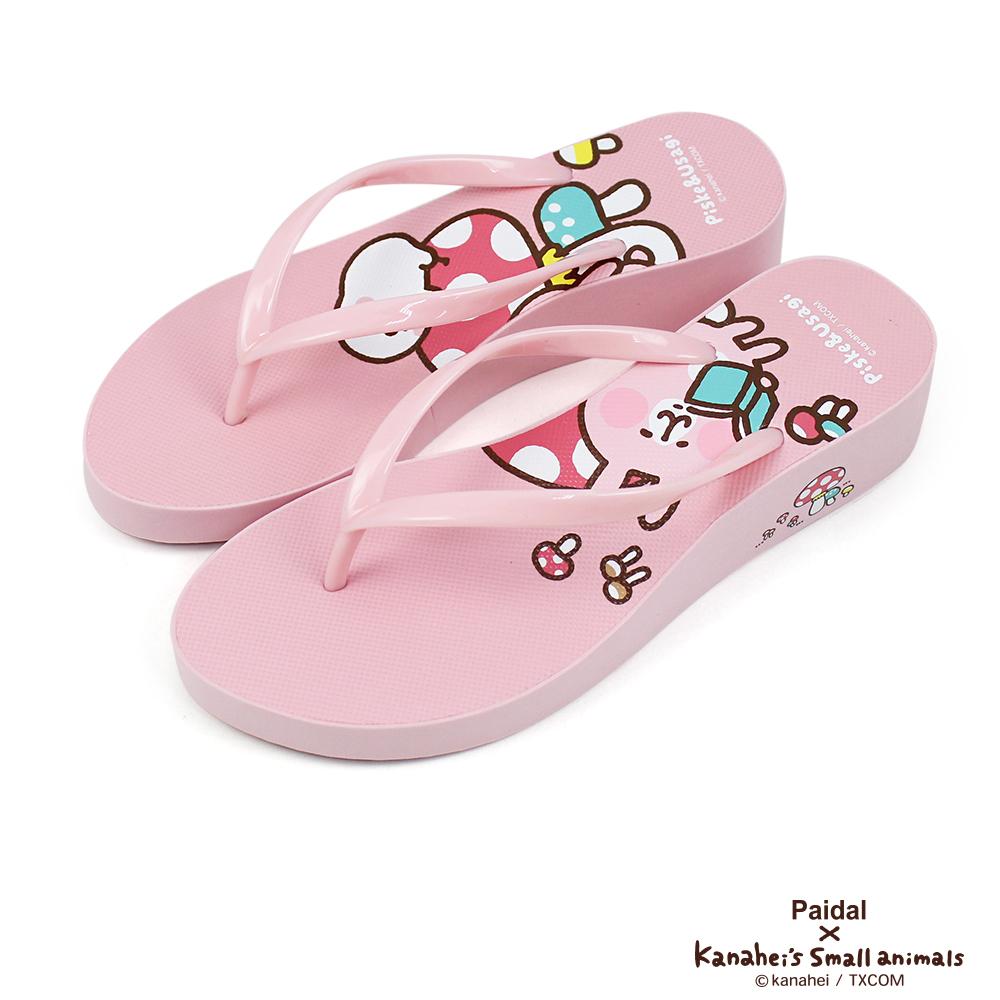 Paidal x 卡娜赫拉的小動物 彩色磨菇厚底夾腳涼拖鞋
