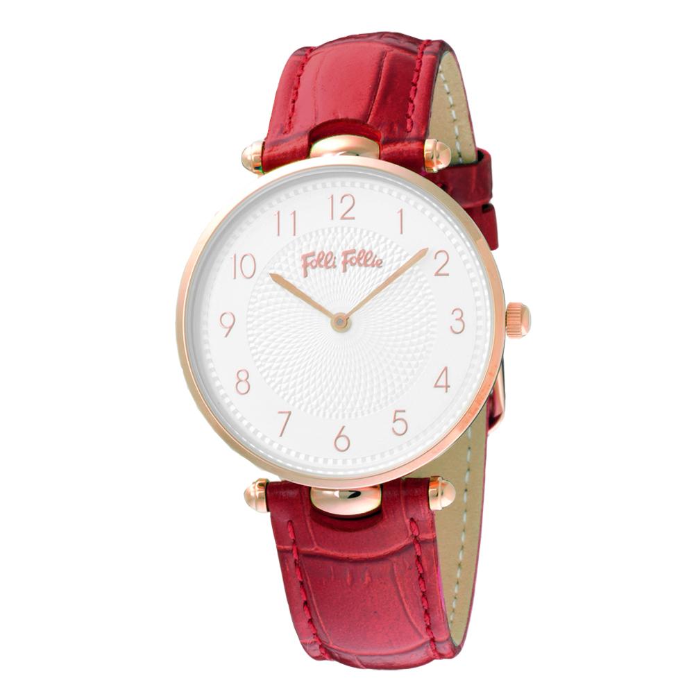 Folli Follie浪漫氣質皮革腕錶-紅(WF17R015SSS-DR)