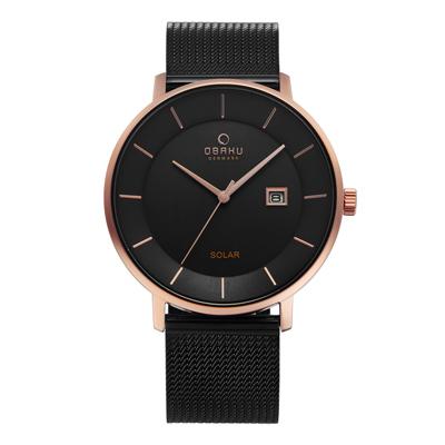 OBAKU 太陽能時尚環保鋼質腕錶-黑色-V222GRVBMB