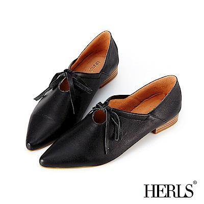 HERLS 柔美氣質 全真皮芭蕾綁帶尖頭低跟休閒鞋-黑色