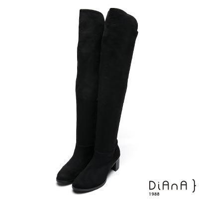 DIANA 率性線條-萊卡羊絨金屬渡跟粗跟過膝長靴-黑