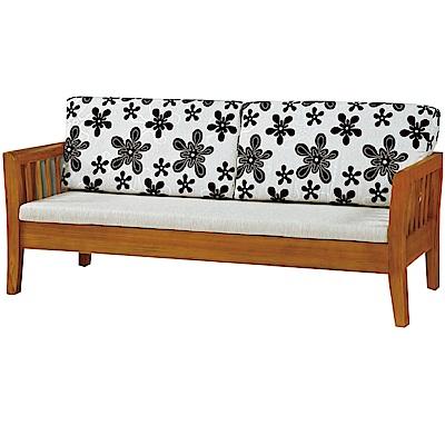 綠活居 麥尼典雅風亞麻布實木三人座沙發椅-186x77x68cm免組