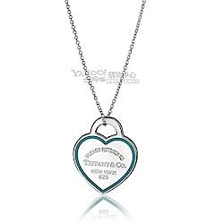 Tiffany&Co. 藍色大愛心琺瑯框線純銀項鍊