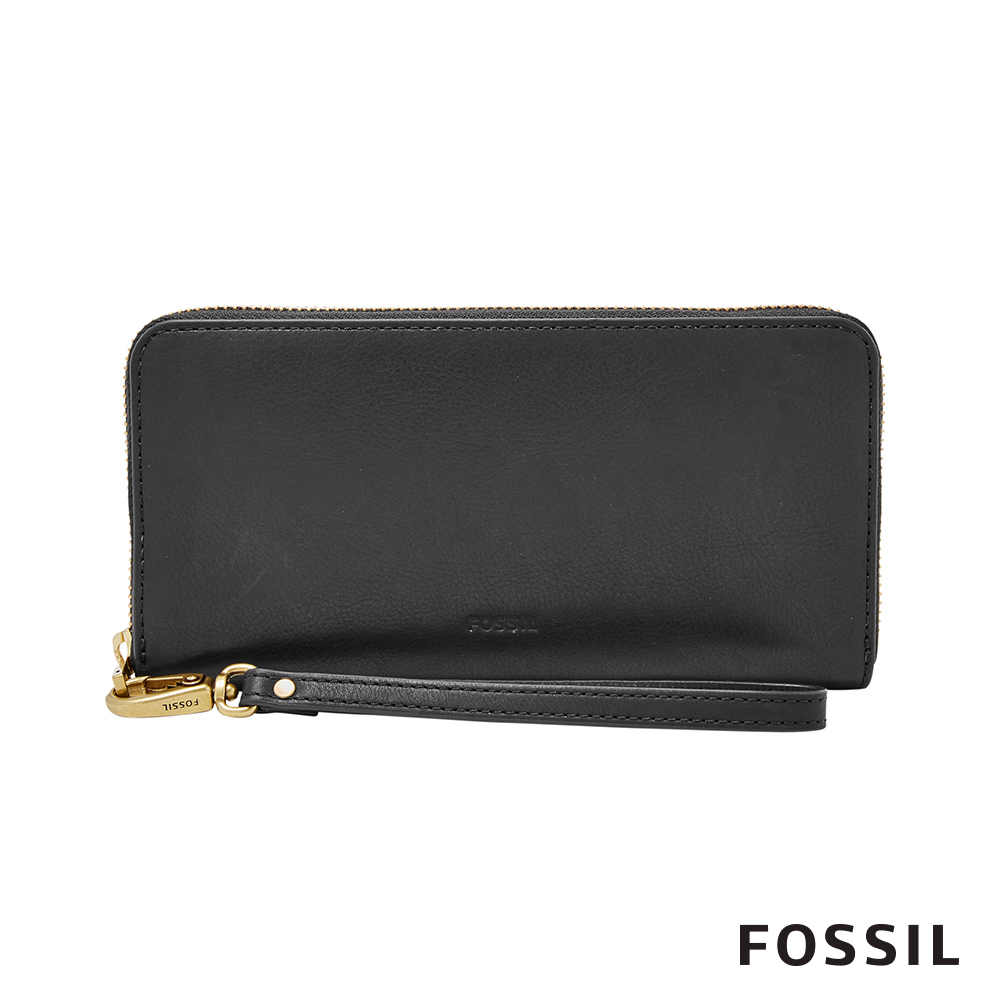 FOSSIL EMMA 真皮拉鍊長夾-黑色 (附手掛繩)
