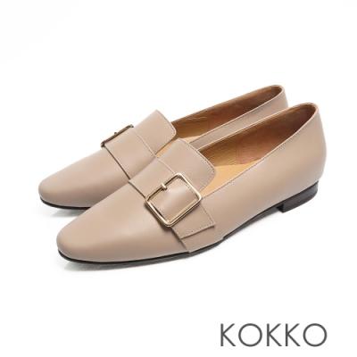 KOKKO -  小方頭羊皮飾帶舒壓樂福平底鞋 - 淺灰色