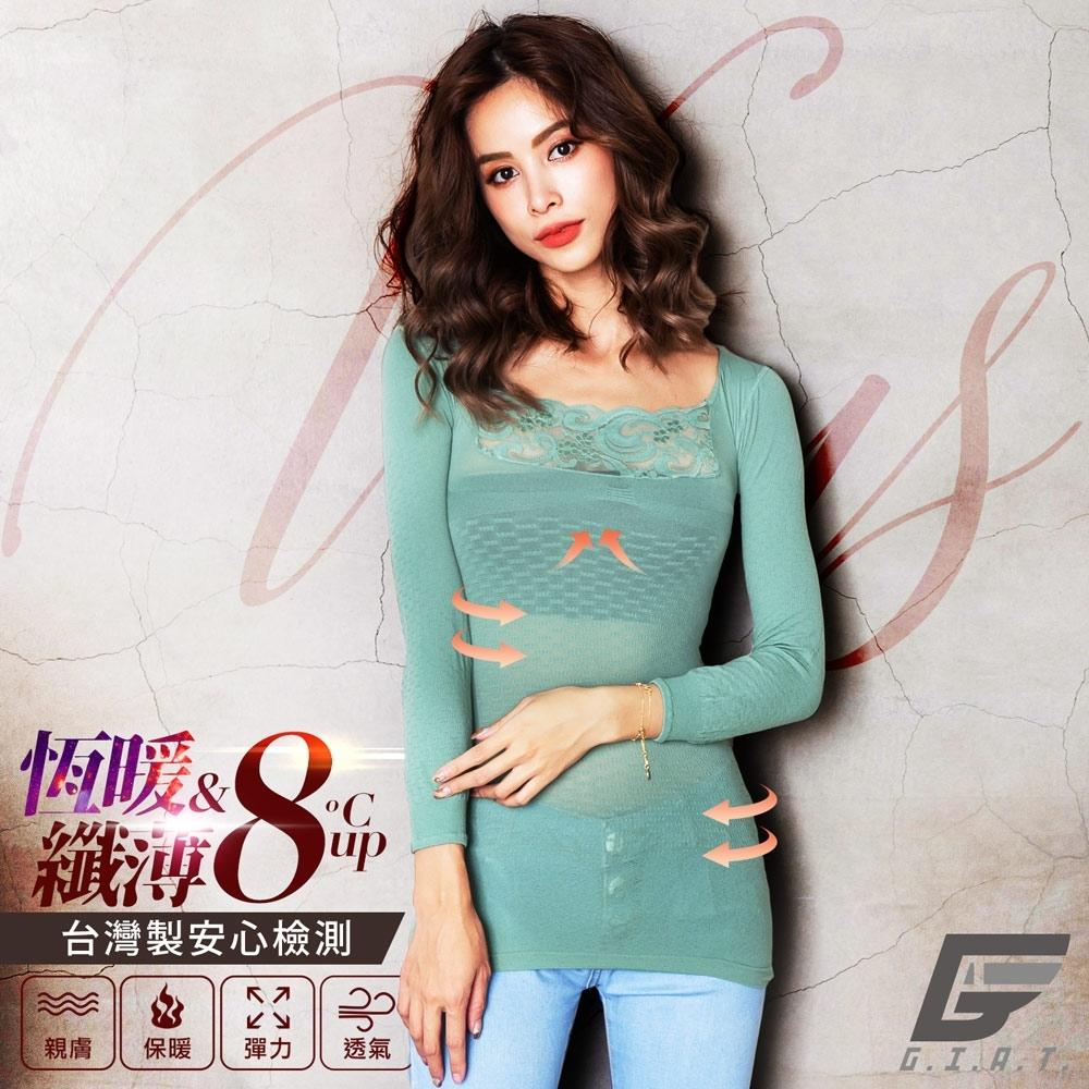 GIAT台灣製150D蕾絲美型機能保暖衣(簡約袖款)-草芯綠