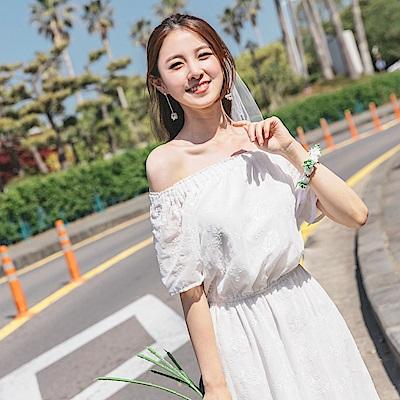婚禮系列~兩穿式純色蕾絲雕花腰鬆緊一字領/圓領長洋裝-OB大尺碼