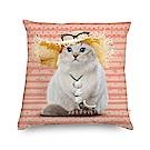 法國數位藝廊 貓貓抱枕/靠墊-渡假(粉橘)-含芯40x40