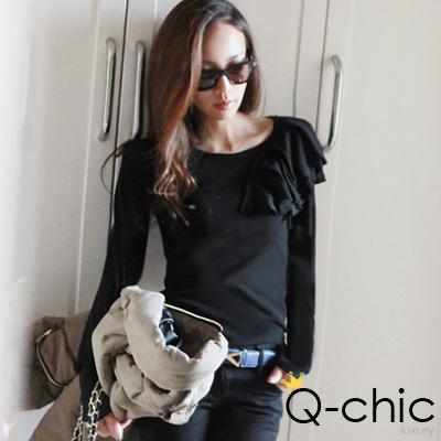 正韓 層次波浪肩飾簡約上衣 (黑色)-Q-chic