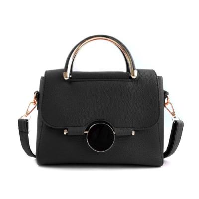【Belinda】凱瑟琳圓形鎖扣甜美手提側背包(黑色)