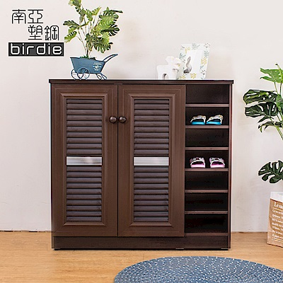 Birdie南亞塑鋼-3.3尺二門右開放塑鋼百葉鞋櫃(胡桃色)-98x37x100cm