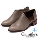 Camille's 韓國空運-側V口拉鍊踝短靴-咖色